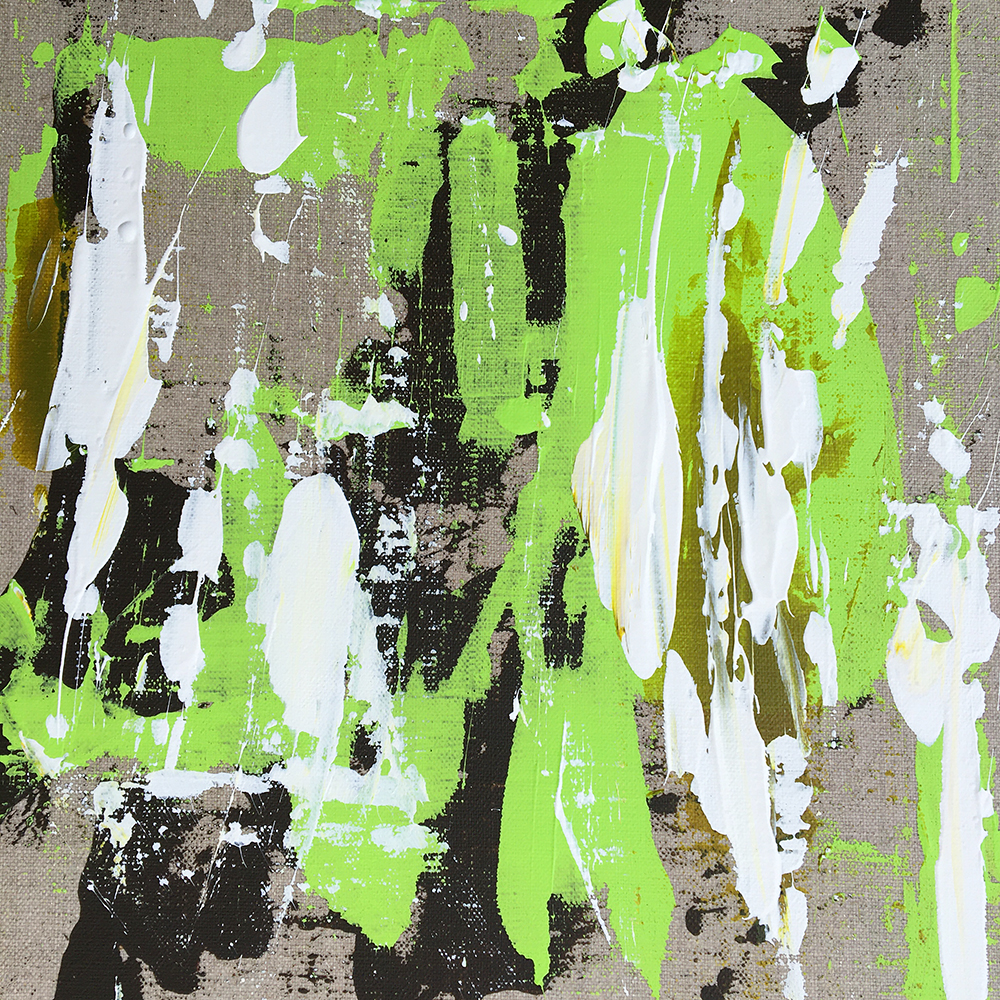 """""""Bear scratches green"""" - Acrylic painting of Bruno PLANADE - 2020"""