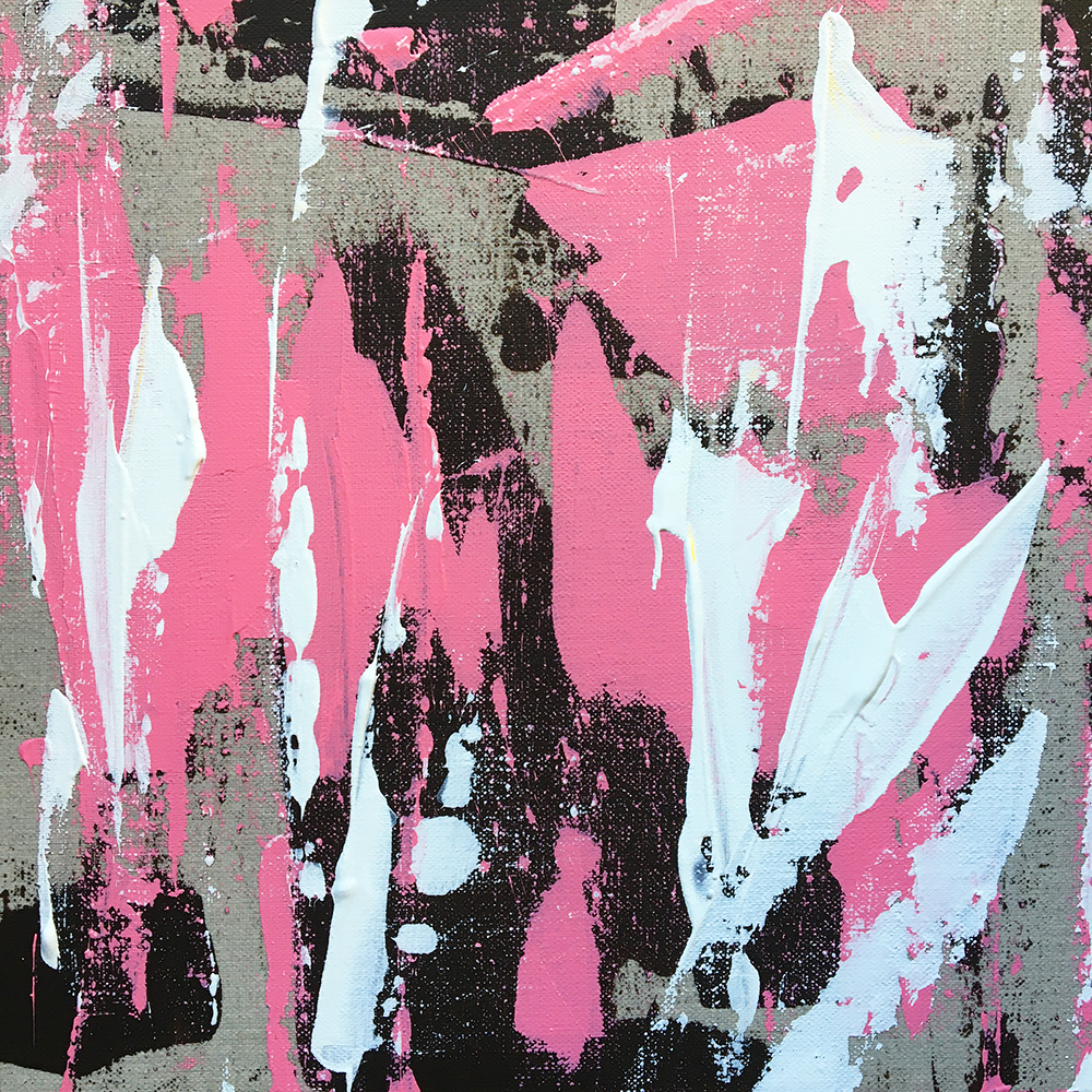 """""""Bear scratches pink"""" - Acrylic painting of Bruno PLANADE - 2020"""