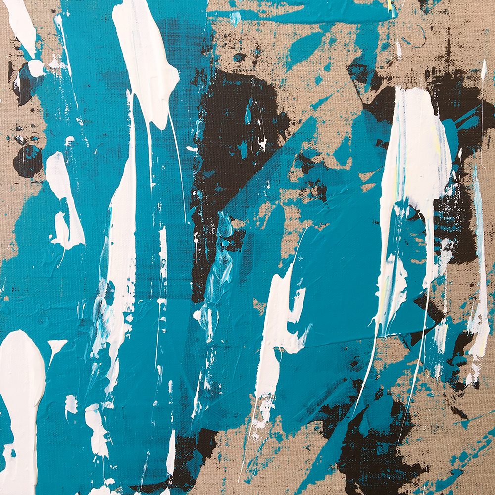 """""""Bear scratches turquoise"""" - Acrylic painting of Bruno PLANADE - 2020"""