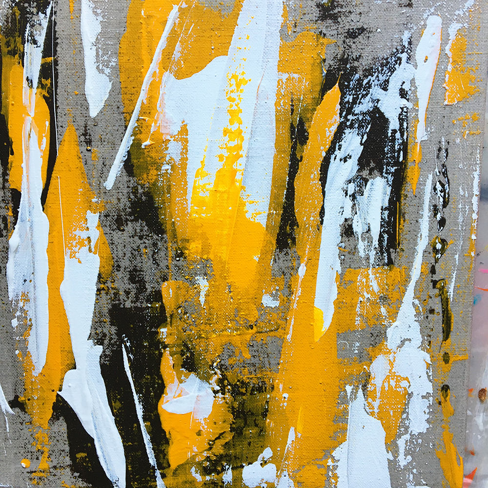 """""""Bear scratches yellow"""" - Acrylic painting of Bruno PLANADE - 2020"""