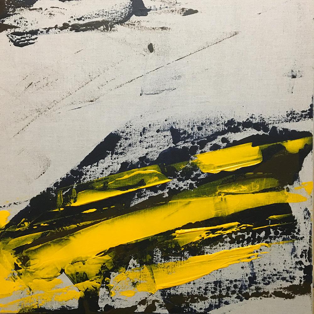 Eraflures jaunes / Scuffs yellow. Peinture actylique sur toile lin. Bruno Planade 2021. #crossmypicture